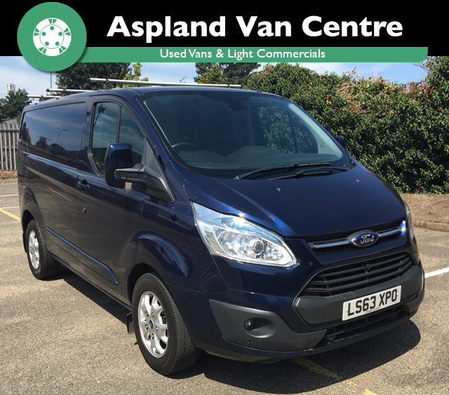 (63) Ford Transit Custom 2.2TDCi (125PS) 290 L2H1 Limited SWB isometric image at Aspland Van Centre